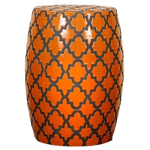 Orange Ceramic Quatrefoil Garden Stool