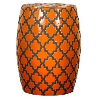 Orange Ceramic Quatrefoil Garden Stool