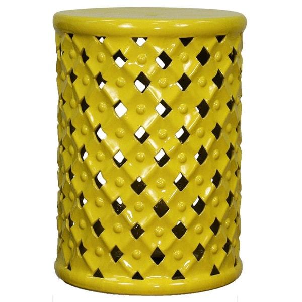 Yellow Ceramic Lattice Garden Stool