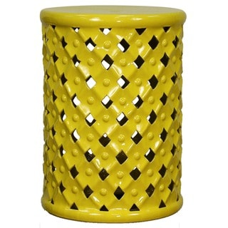 yellow ceramic lattice garden stool