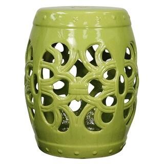 Green Ceramic Ribbon Garden Stool