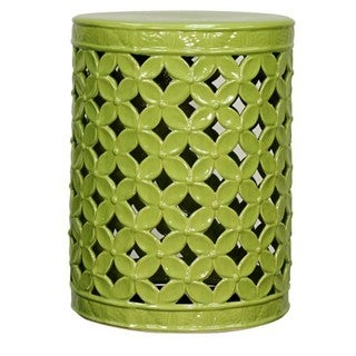 Green Ceramic Lattice Leaves Garden Stool