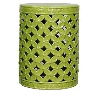 Green Ceramic Lattice Leaves Garden Stool