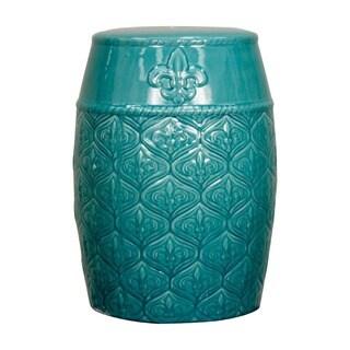 Blue Spear Ceramic Garden Stool