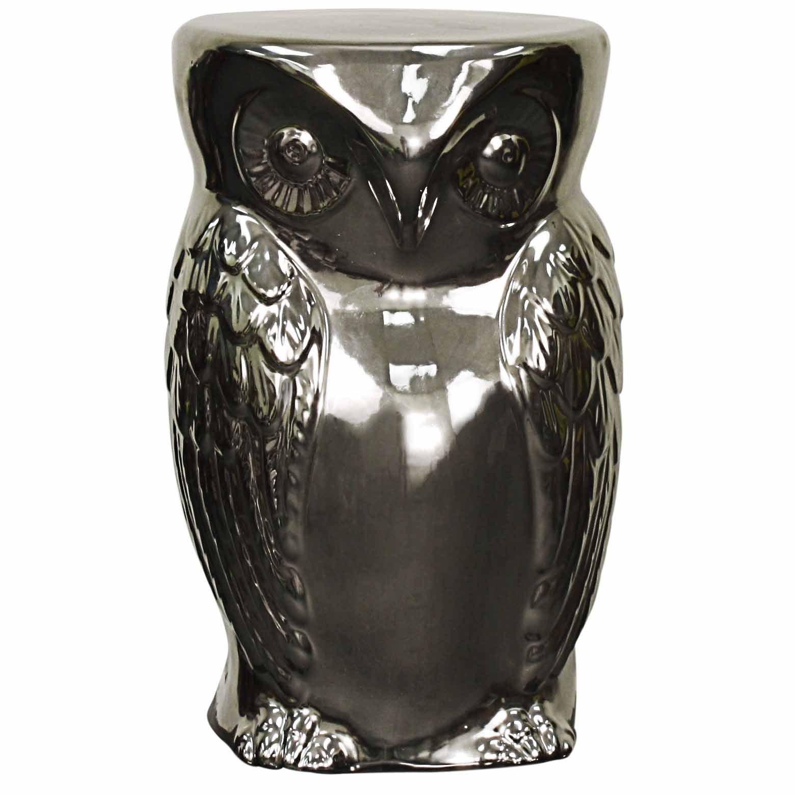 Silvertone Silver Ceramic Owl Garden Stool (Silver), Outd...