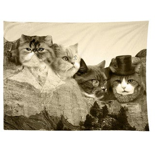 Sharp Shirter Meowmore/ Mount Rushmore/ Tapestry