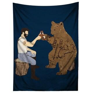 Sharp Shirter Having a Bear Illustration Tapestry