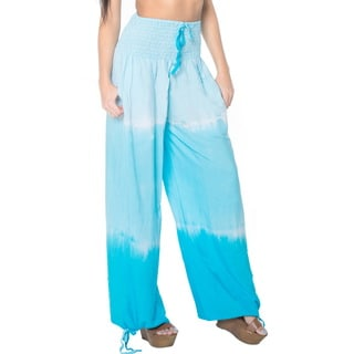 La Leela Rayon Tie Dye Cover Up Bikini Swimwear Lounge Sleepwear Lightweight Pajama Relaxed Fit Drawstring Pants Turquoise