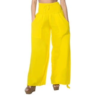 La Leela Rayon Plain Drawstring Tie Lounge Pajama Nightwear Women Pants Yellow
