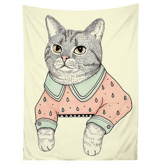 Sharp Shirter Cat Lady Cat Tapestry
