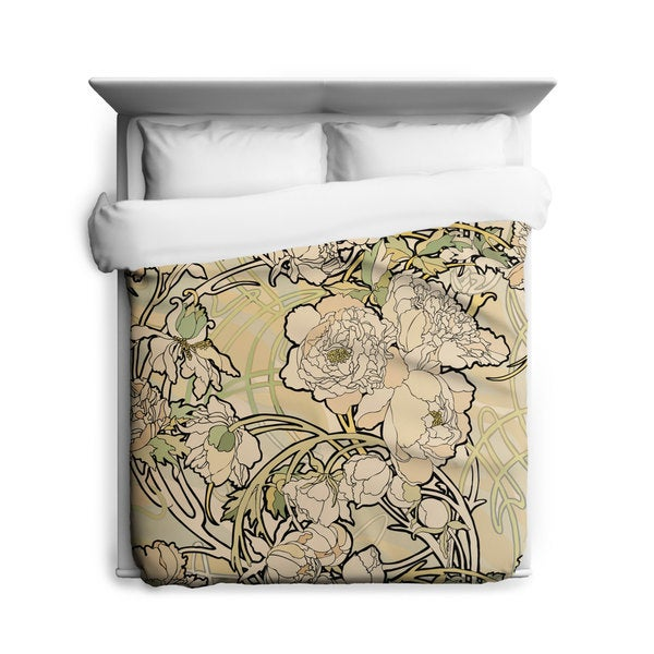 Sharp Shirter Peonies Flower/ Alphonse Mucha/ Duvet Cover