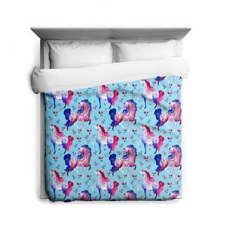 Sharp Shirter Prancing Ponies/ Horse Duvet Cover/ Printed in Usa