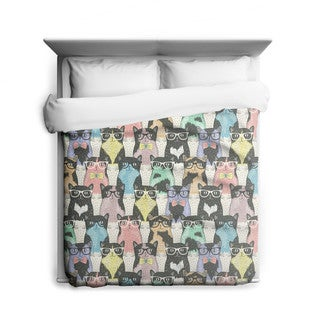 Sharp Shirter Nerdy Cats/ Cat Duvet Cover/ Printed in Usa