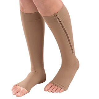 Extreme Fit Black/Nude Nylon/Spandex Open Toe Zipper Compression Socks (Pack of 2)