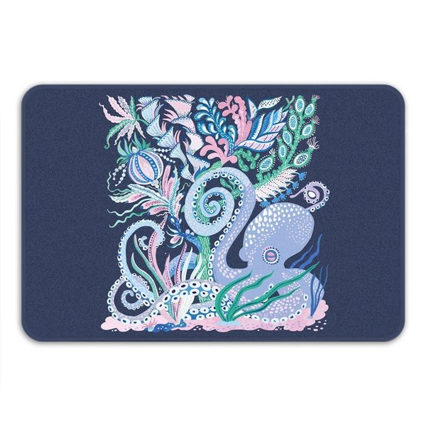 Sharp Shirter Octoparty Navy Memory Foam Bath Mat