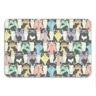 Sharp Shirter Nerdy Cats Memory Foam Bath Mat