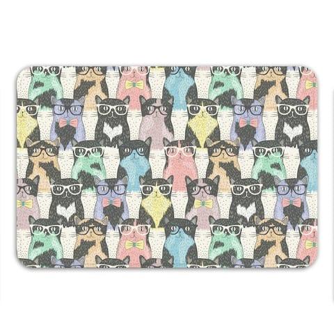 Sharp Shirter Nerdy Cats Memory Foam Bath Mat