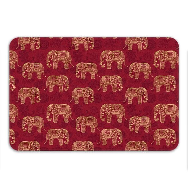 Sharp Shirter Henna Elephants Memory Foam Bath Mat
