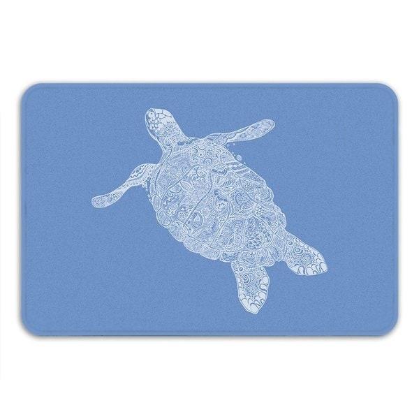 Sharp Shirter Elegant Turtle Memory Foam Bath Mat - Blue