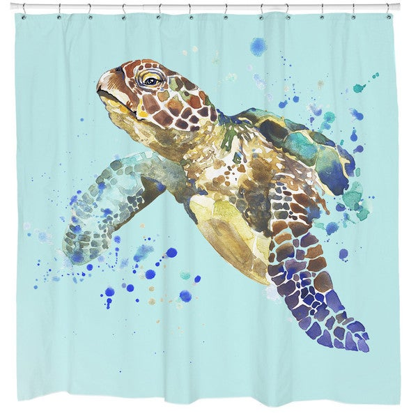 Sharp Shirter Turtle Splash Shower Curtain