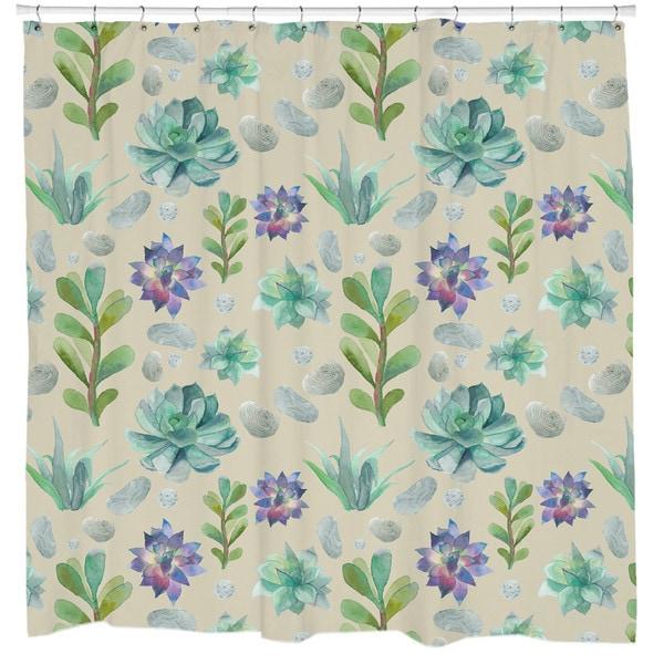 Sharp Shirter Succulent Pattern Shower Curtain