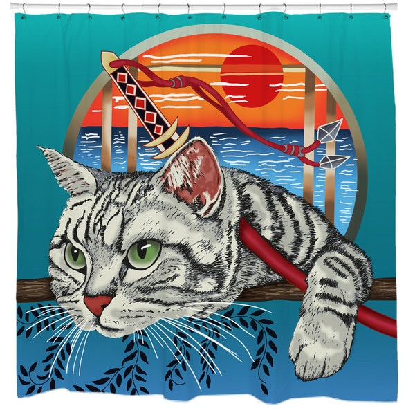 Sharp Shirter Samurai Cat Shower Curtain