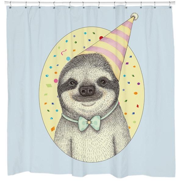 Shop Sharp Shirter Party Sloth Shower Curtain
