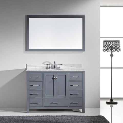 Virtu USA Caroline Avenue 48-inch Italian Carrara White Marble Single Bathroom Vanity Set with Faucet Options