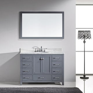 Virtu USA Caroline Avenue 48-inch Italian Carrara White Marble Single Bathroom Vanity Set with Faucet Options