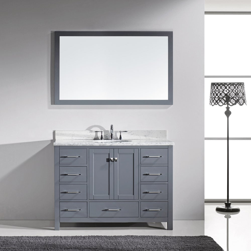 Virtu USA Caroline Avenue 48 Inch Italian Carrara White Marble Single Bathroom  Vanity Set With
