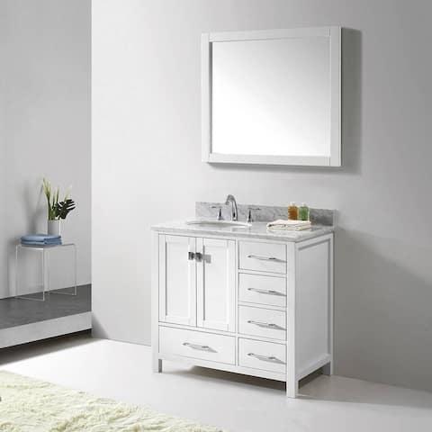 Virtu USA Caroline Avenue 36-inch Italian Carrara White Marble Single Bathroom Vanity Set with Faucet Options