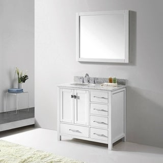 Virtu USA Caroline Avenue 36-inch Italian Carrara White Marble Single Bathroom Vanity Set with Faucet Options