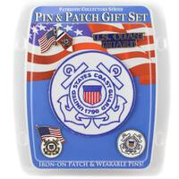 U.S. Coast Guard Blue Polyester Pin and Patch Gift Set