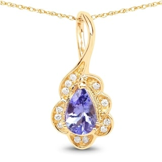 Malaika 14k Yellow Gold 2/5ct TGW Tanzanite and White Diamond Pendant