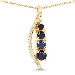 Malaika 14k Yellow Gold 2/5ct TGW Blue Sapphire and White Diamond Pendant