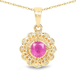 Malaika 14k Yellow Gold 5/8ct TGW Ruby and White Diamond Pendant
