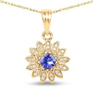 Malaika 14k Yellow Gold 1/3ct TGW Tanzanite and White Diamond Pendant