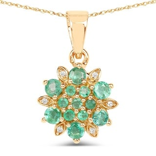 Malaika 14k Yellow Gold 3/4ct TGW Zambian Emerald and White Diamond Pendant