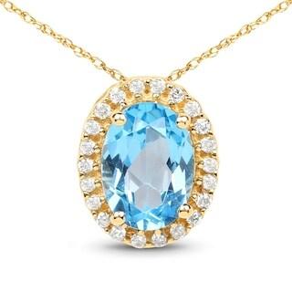 Malaika 14k Yellow Gold 1 1/10ct TGW Swiss Blue Topaz and White Diamond Pendant