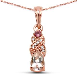 Malaika 14k Rose Gold 2/5ct TGW Gemstone and White Diamond Pendant