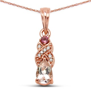 Malaika 14k Rose Gold 2/5ct TGW Gemstone and White Diamond Pendant