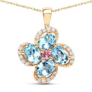 Malaika 14k Yellow Gold 7/8ct TGW Gemstone and White Diamond Pendant