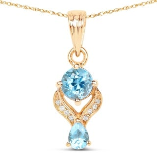 Malaika 14k Yellow Gold 4/5ct TGW Swiss Blue Topaz and White Diamond Pendant