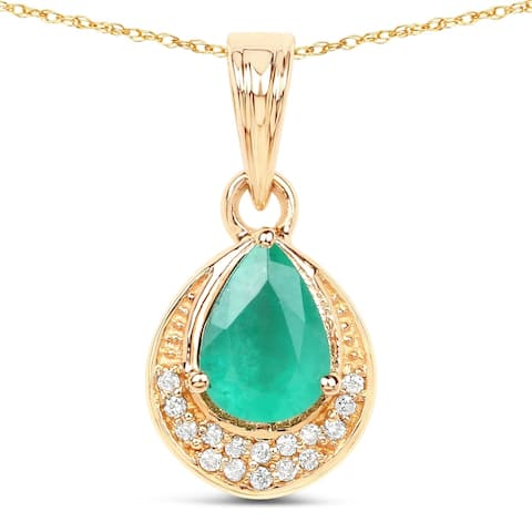Malaika 14k Yellow Gold 7/8ct TGW Zambian Emerald and White Diamond Pendant