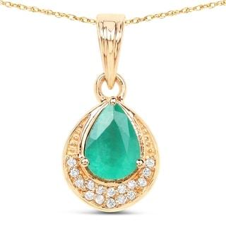 Malaika 14k Yellow Gold 7/8ct TGW Zambian Emerald and White Diamond Pendant