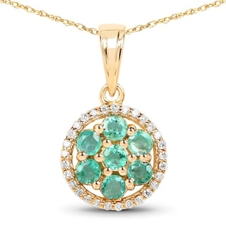 Malaika 14k Yellow Gold 5/8ct TGW Zambian Emerald and White Diamond Pendant