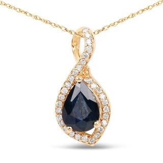 Malaika 14k Yellow Gold 7/8ct TGW Blue Sapphire and White Diamond Pendant