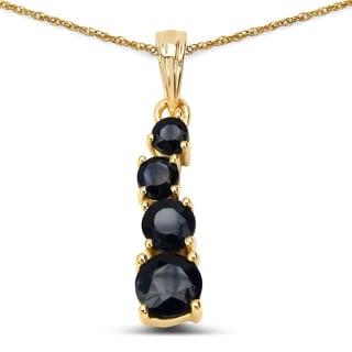 Malaika 14k Yellow Gold 1 1/5ct TGW Blue Sapphire Pendant