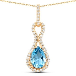 Malaika 14k Yellow Gold 7/8ct TGW Swiss Blue Topaz and White Diamond Pendant