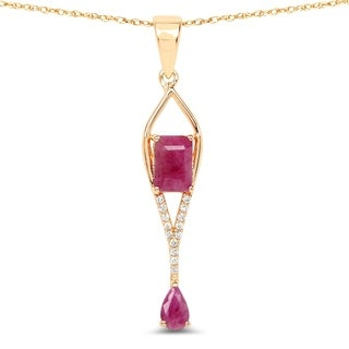 Malaika 14k Yellow Gold 1ct TGW Ruby and White Diamond Pendant